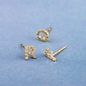 Gold and diamonds pavé alphabet initials stud earrings _ maschio gioielli milano
