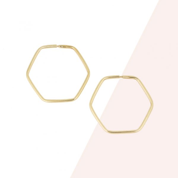 Hexagon Hoop Earrings made of thin wire of yellow gold _ maschio gioielli milano (2)