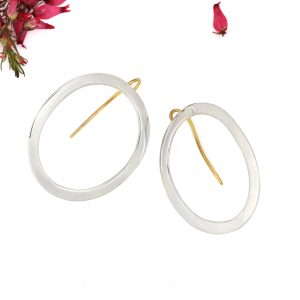Minimalist Geometric Silver Large Curved Oval Earrings with yellow gold findings _ maschio gioielli milano