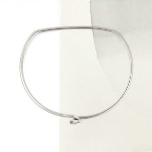 Silver simple minimalist geometric D shaped cuff bangle bracelet armband _ maschio gioielli milano