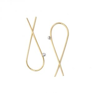 Yellow Gold Crossed Arc earrings with silver bead - upside down Open hoops - teardrop hoops - minimalist wishbone earrings _ maschio gioielli milano