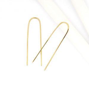 Orecchini semplici minimal a forma di U in filo quadro d\\\\'oro giallo sottili _ maschio gioielli milano