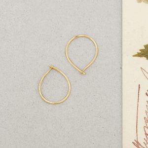Yellow Gold Simple little thin wire teardrop circle hoop earrings _ wishbone earrings _ maschio gioielli milano