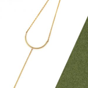 Yellow Gold Simple minimalist geometric delicate chain bracelet with curved bar arc U shaped _ maschio gioielli milano