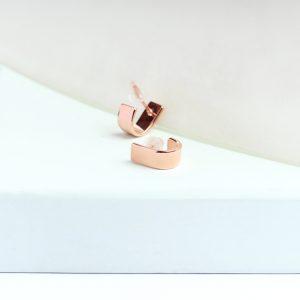 Orecchini minimal semplici piccoli a perno ad U in argento rosa o oro giallo _ maschio gioielli milano