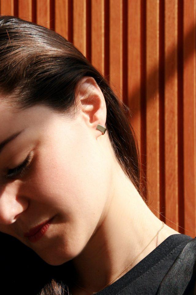 Minimalist Earrings Yellow Gold Small Arc, U Earrings, Open Hoops, Wire Geometric Shape _ maschio gioielli milano