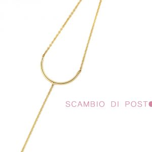 Minimalist thin chain C bracelet in yellow gold _ maschio gioielli milano