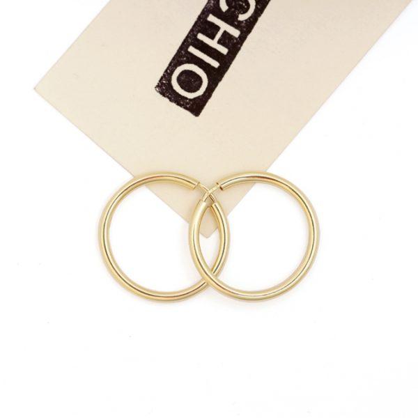 Polished Yellow Gold Small hoop circle earrings 30 mm _ maschio gioielli milano (1)