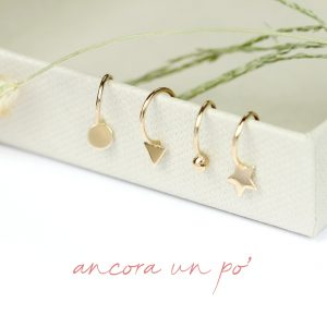 Small open hoop earrings in gold _  round - triangle - dot - star _ maschio gioielli milano