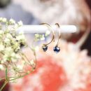 Simple thin tiny small gold hoop earrings with faceted blue sapphires _ maschio gioielli milano