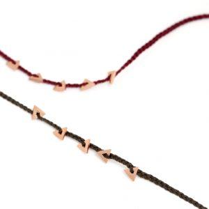 Braccialetti intrecciati sottili con cordino colorato e triangoli in argento rosa _ maschio gioielli milano