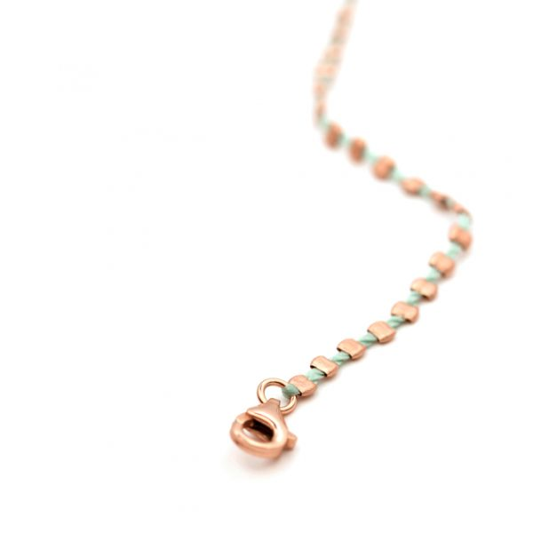 Thin tiny adjustable bracelets with mint green colored strings and pink silver irregular squares _ maschio gioielli milano (1)