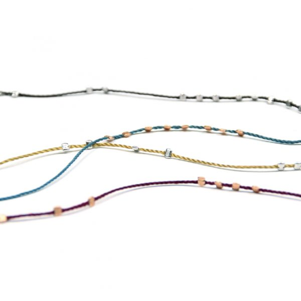 Thin tiny long necklaces with colored string and 925 silver irregular squares _ maschio gioielli milano
