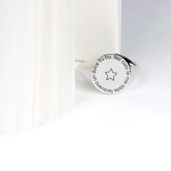 Anello chevalier tondo per uomo e donna in argento _ personalizzato con iniziali, simboli, stemmi _ maschio gioielli milano