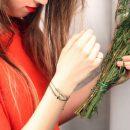Braccialetti sottili colorati con cordino e calcedonio verde – dettagli in argento rosa _ maschio gioielli milano