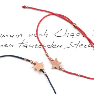 Simple thin adjustable bracelets with colored thread and pink silver star shaped minimalist pendant element _ maschio gioielli milano