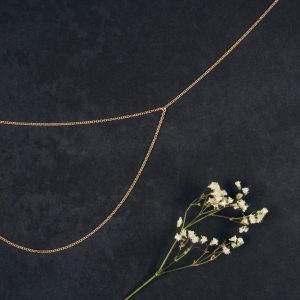Tiny minimalist simple collier short necklace made of thin rolò double gold chain _ maschio gioielli milano