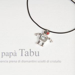Ciondolo a forma di robot in argento 925 _ charm con papà cyber robot _ maschio gioielli milano