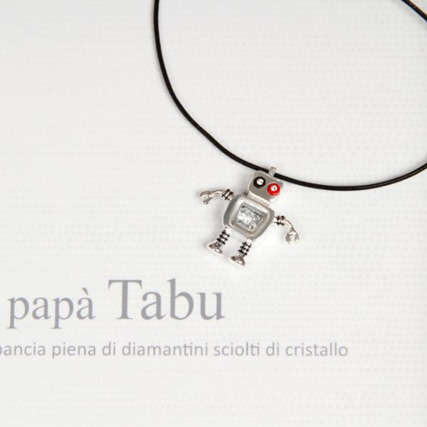 925 silver fancy robot family pendant _ father robot charm _ maschio gioielli milano (1)