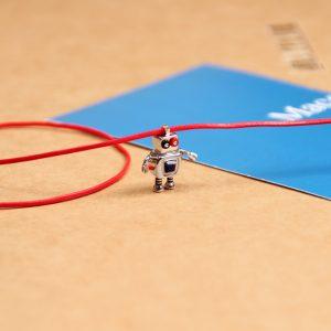 925 silver fancy robot family pendant _ son robot charm _ maschio gioielli milano