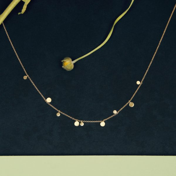 Thin tiny gold chain short necklace collier with mini round pendants _ maschio gioielli milano (4)