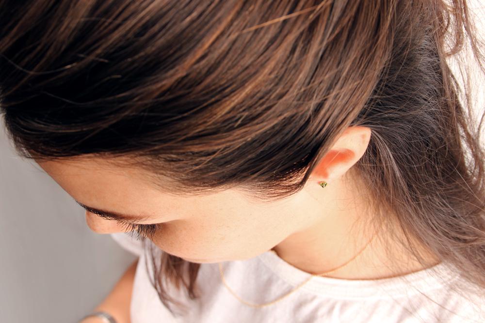 Cuore di erba. Single earrings