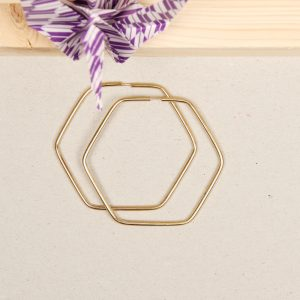 Pair of large gold minimalist geometric hexagon thick hoop earrings _ maschio gioielli milano