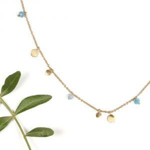 Thin tiny gold chain short necklace collier with light-blue agate stones and round pendants _ maschio gioielli milano