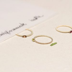 Thin tiny stacking minimalist gold rings with navette cut colored stones _ maschio gioielli milano