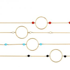 Tiny gold chain short necklace with hoop and turquoises, agates, corals or pearls _ maschio gioielli milano