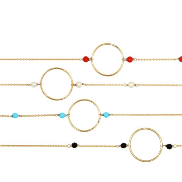 Tiny gold chain short necklace with hoop and turquoises, agates, corals or pearls _ maschio gioielli milano (1)