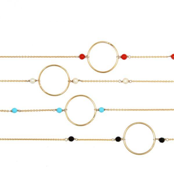 Collana girocollo in oro giallo con catenina sottile, cerchio e pietre naturali _ maschio gioielli milano