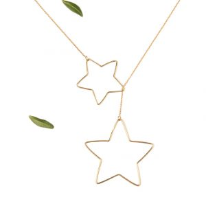 Yellow gold thin chain threader sautoir necklace with wire star pendants _ maschio gioielli milano