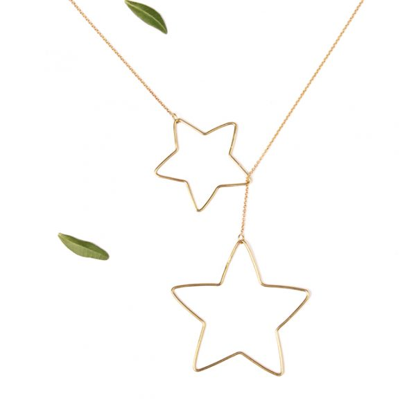 Yellow gold thin chain threader sautoir necklace with wire star pendants _ maschio gioielli milano (7)