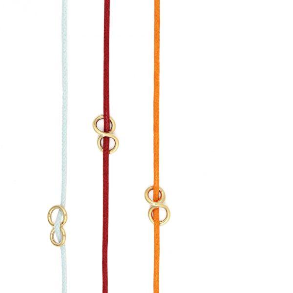 Cotton string unisex bracelet with yellow gold infinite symbol _ maschio gioielli milano