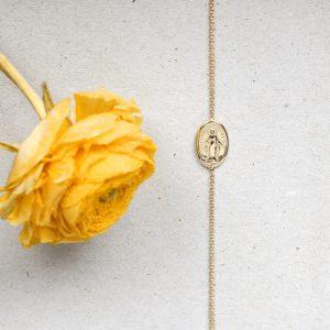 Thin rolò chain gold bracelet with madonna del sorriso_ maschio gioielli milano(2)