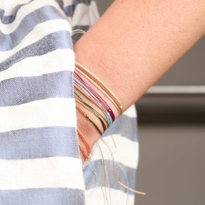 Long colored string bracelets with pink silver chain for men and women _ maschio gioielli milano