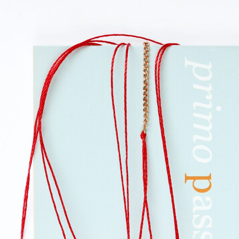 Long string cord bracelet with pink silver chain for men and women _ maschio gioielli milano