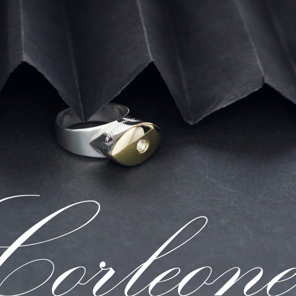 Silver and gold talisman ring with diamond for men and women _ eye shaped navette _ maschio gioielli milano