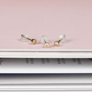 9k yellow gold little mini round stud earrings with white diamonds _ maschio gioielli milano (13)