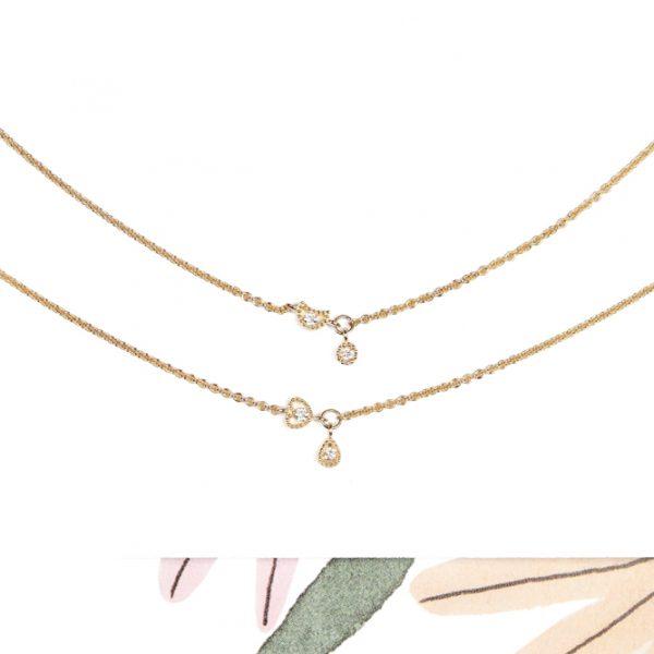 Tiny thin yellow gold chain short necklace with mini diamonds pendants _ maschio gioielli milano (4)
