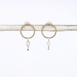 Gold beaded wire circle stud earrings with loose faceted diamonds _ maschio gioielli milano