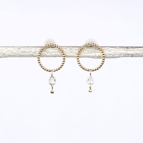 Gold beaded wire circle stud earrings with loose faceted diamonds _ maschio gioielli milano (6)