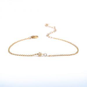 Braccialetto di catenina sottile in oro con stella e diamante sfaccettato irregolare _ maschio gioielli milano