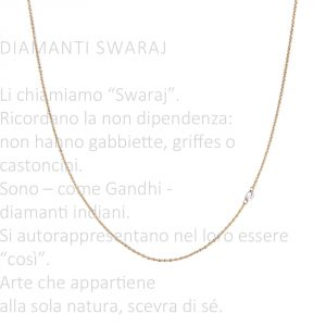Minimalist thin rolò chain no clasp long necklace with asymmetric faceted loose diamond _ maschio gioielli milano