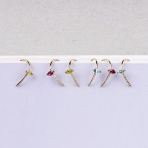 Minimalist tiny gold wire U earrings with colored navette cut stones _ maschio gioielli milano