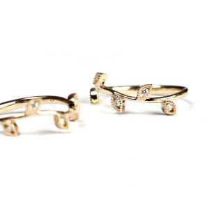 Anello in stile organico con foglie in oro giallo e diamanti _ maschio gioielli milano
