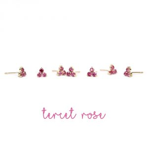 Small three fuchsia tourmaline stones' flower stud earrings handmade in gold _ maschio gioielli milano