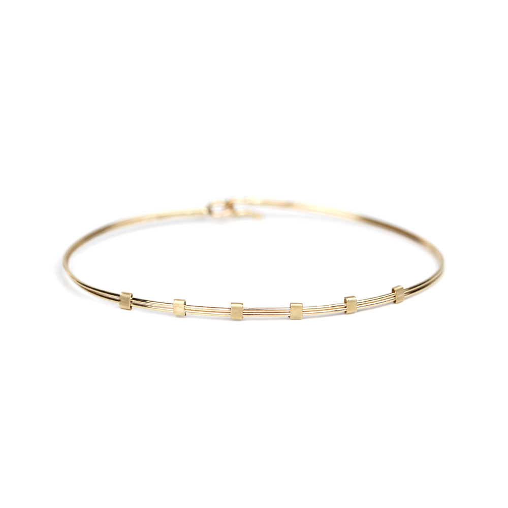 a2ccea02d6d Thin gold wire bangle bracelet with six squared elements _ maschio gioielli  milano (1)