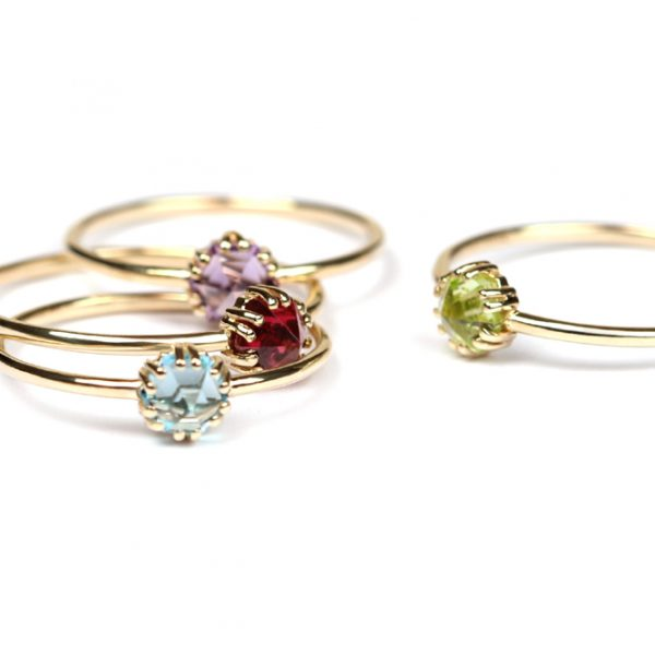 Thin wire gold rings with colored hexagon cut stones _ maschio gioielli milano (6)